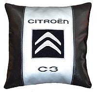 Подушка сувенир с вышивкой логотипа машины citroen подарок новогодний