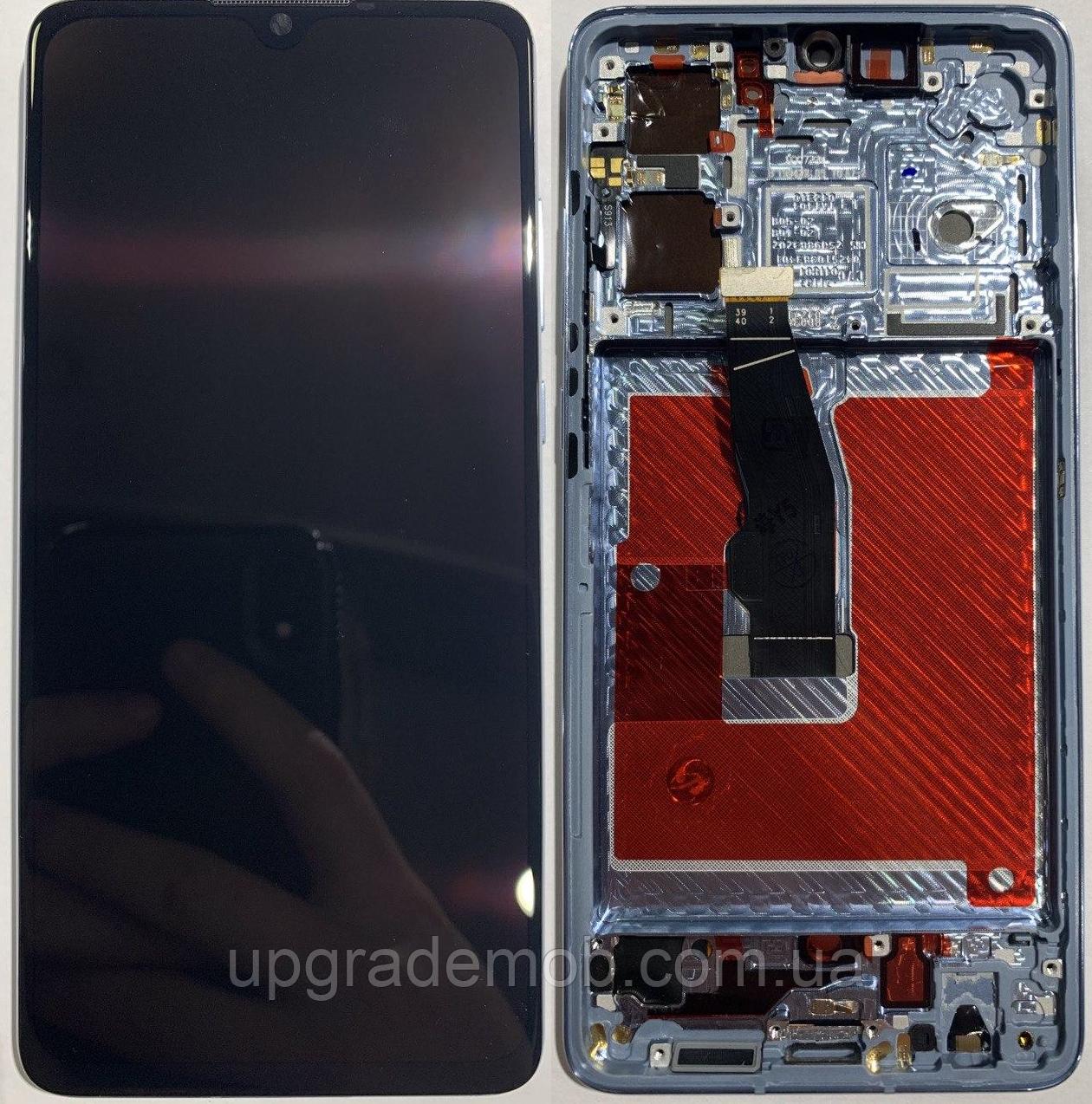 Дисплей Huawei P30 с тачскрином модуль сенсор, черный, в рамке голубого цвета, Breathing Crystal, OLED,