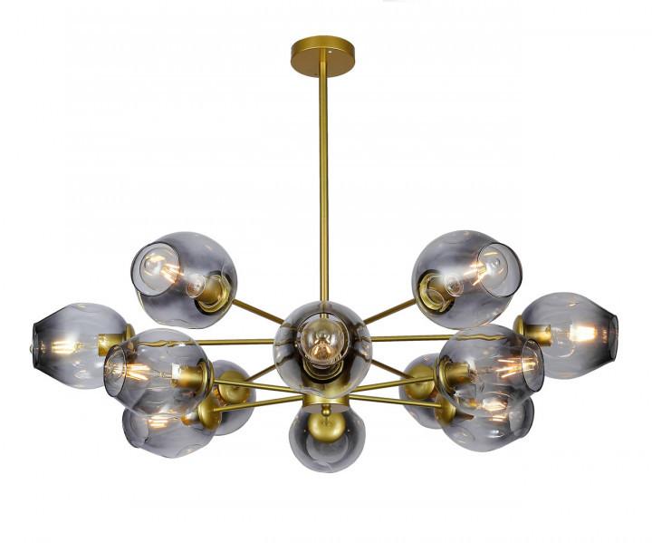 Люстра подвесная на 12 плафонов на золотом основании в стиле loft 7526035-12 GD+BK
