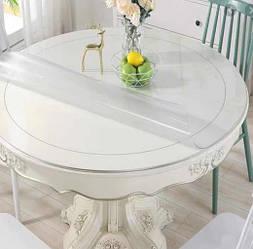 Круглая скатерть мягкое стекло Soft Glass Покрытие на круглый стол Диаметр - 0.8м (толщина 2.0 мм) Прозрачная