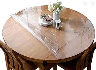 Круглая скатерть мягкое стекло Soft Glass Покрытие на круглый стол Диаметр - 0.9м (толщина 2.0 мм) Прозрачная