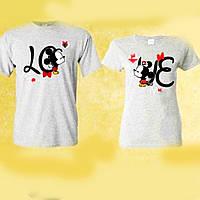 Футболки парные Микки Маус LOVE для влюбленных ручная роспись акриловыми красками (ol_5)