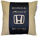 Автомобильная подушка хонда с вышивкой логотипа машины Honda подарок автомобилисту, фото 3