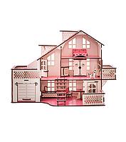 Кукольный дом с гаражом и подсветкой 57х27х35  В011