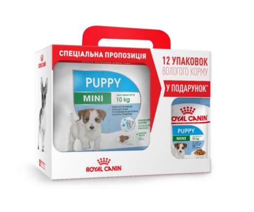 Сухой корм Роял Канин (Royal Canin) Mini Puppy для щенков мелких пород, 4 кг+12 паучей