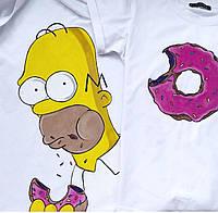 Футболки парные Гомер и пончик / Мы ручная роспись акриловыми красками (ol_8)