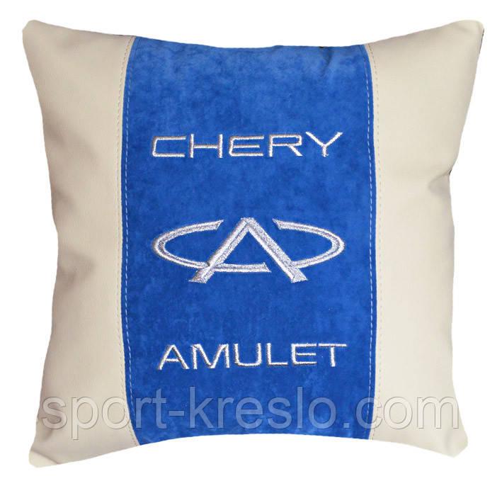 Сувенир подушка чери с вышивкой логотипа машины Chery подарок в авто