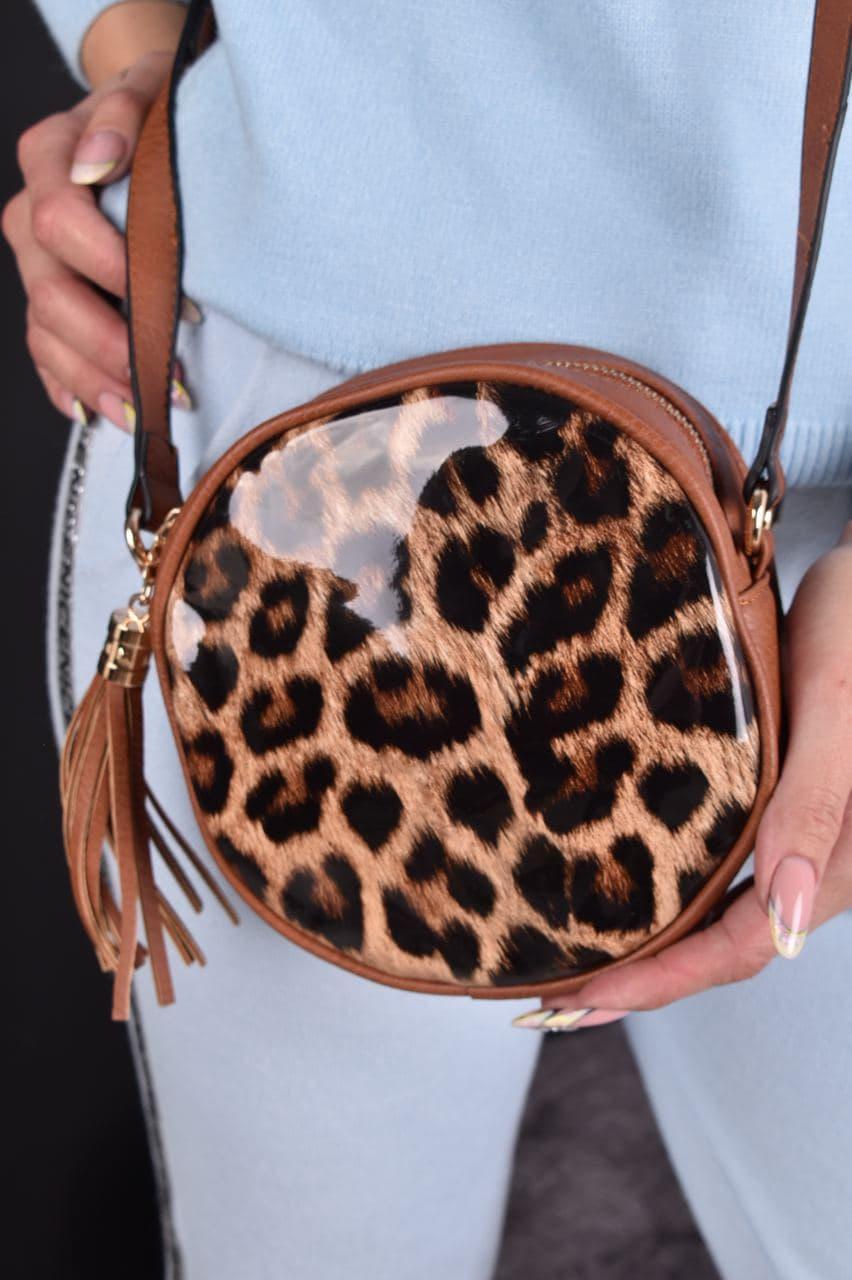 Сумка женская коричневая круглая с леопардовым принтом код 7-60690