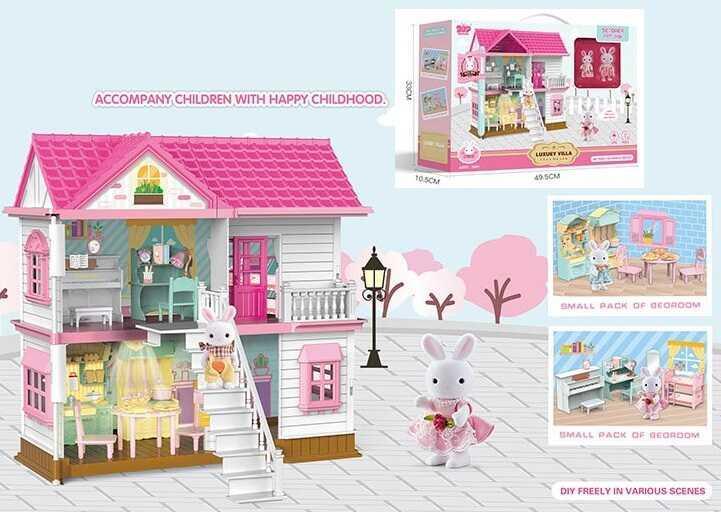 Домик игрушечный, 2 этажа, мебель, два флоксовых кролика, Y8823