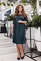 Свободное женское платье больших размеров из эко-кожи, разные цвета р.48-50,52-54,56-58,60-62 Код 081Я