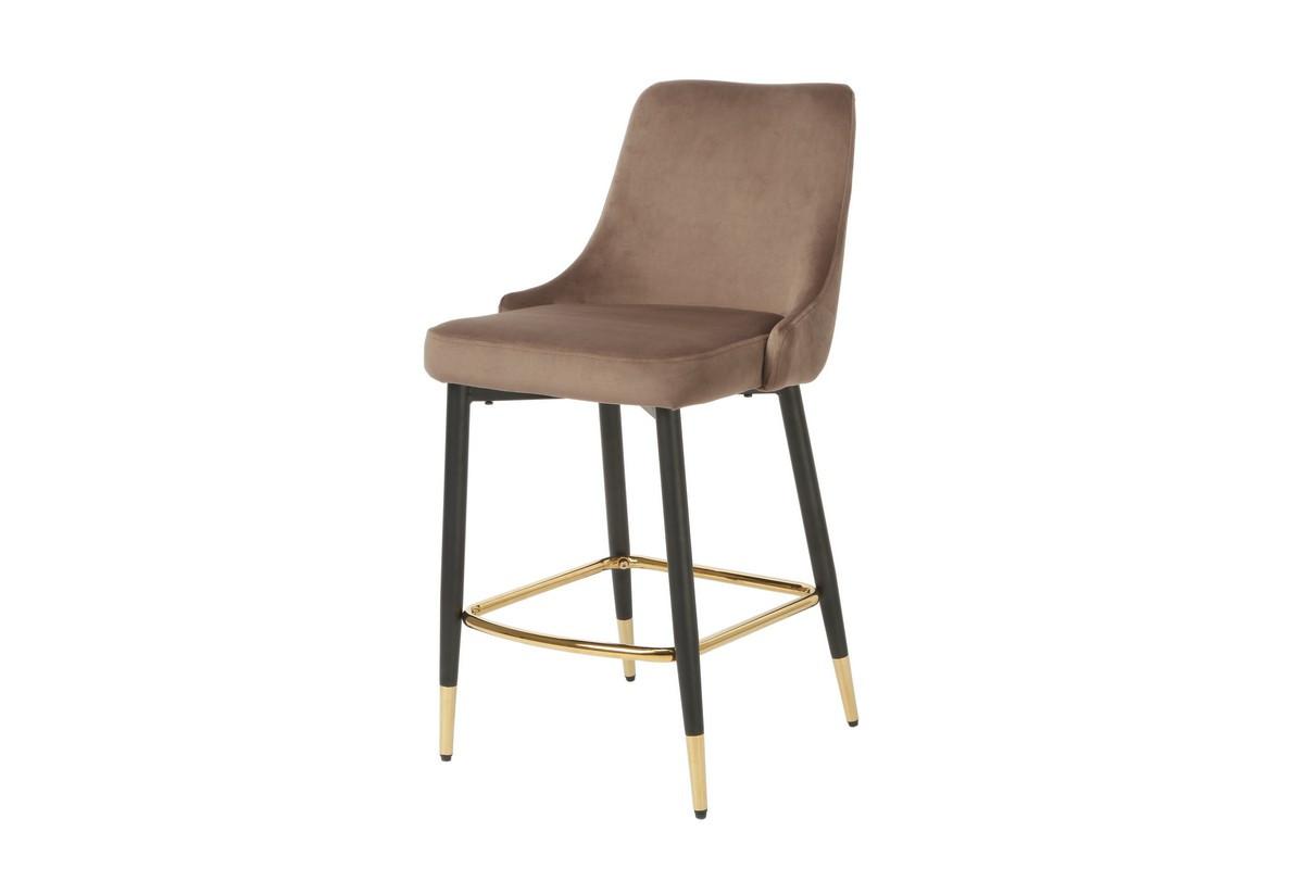Полубарный стул В-128 мокко вельвет + черный металл с золотым наконечником от Vetro Mebel