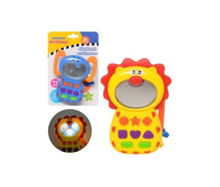 Телефон обучающий 12 см, звук (анг.), музыка, 2 вида (лев, слон), 0680AB