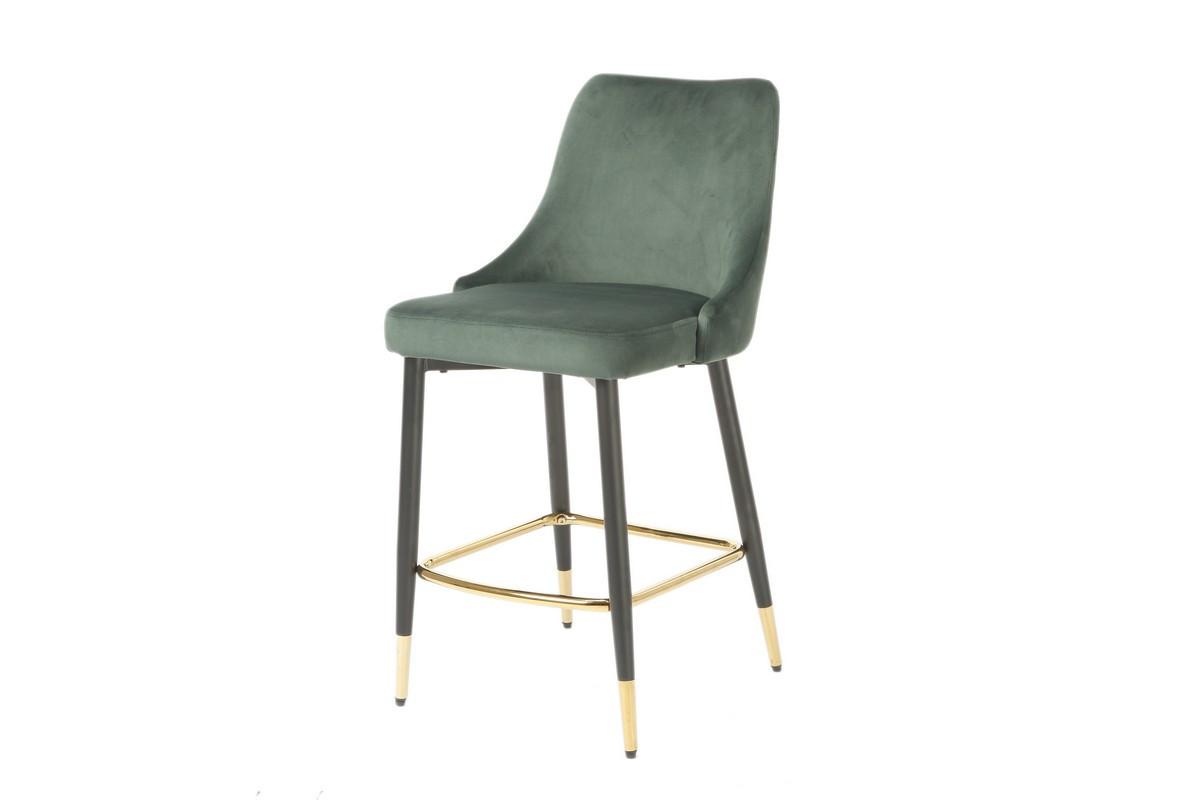 Полубарный стул В-128 изумрудный вельвет + черный металл с золотым наконечником от Vetro Mebel