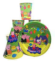 """Набор """"Свинка Peppa"""" З днем народження. Тарелки (18см) -10шт. Стаканчики (250мл) -10шт. Колпачки (16см) -10шт."""