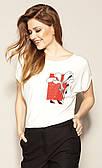 Летняя блузка молочного цвета с коротким рукавом. Модель Juanita Zaps, коллекция весна-лето 2021.