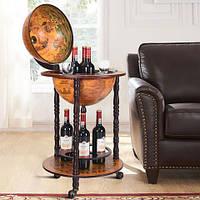 Глобус бар напольный на 3-х ножках коричневый 46.8*46.8*90 см Гранд Презент 36001R