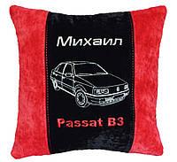 Сувенирная подушка с вышивкой фото силуэта машины подарок в авто