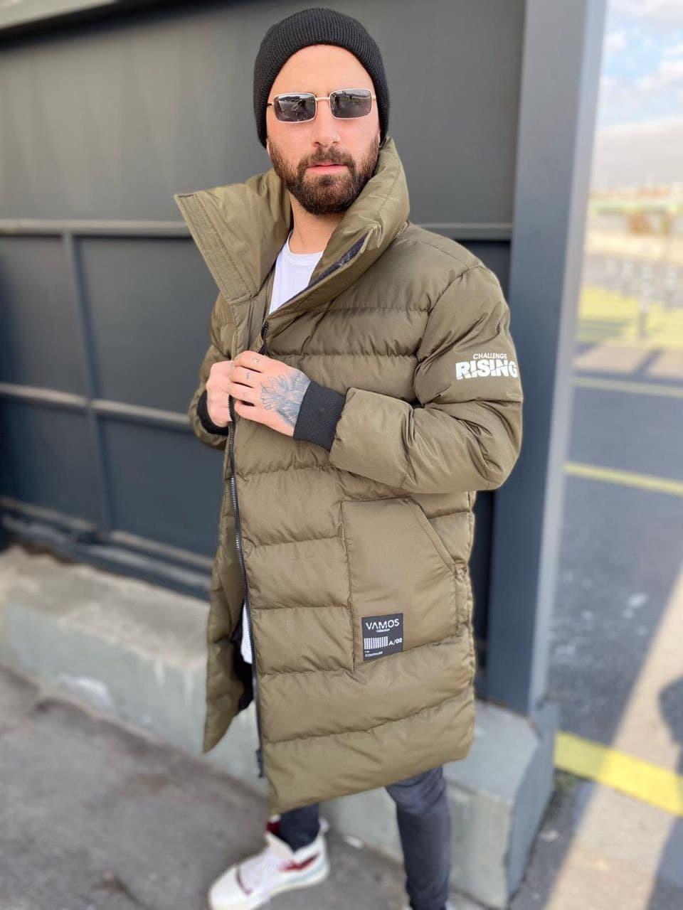 Мужская длинная зимняя куртка D10202 хаки