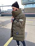 Мужская длинная зимняя куртка D10202 хаки, фото 4