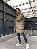 Мужская длинная зимняя куртка D10202 хаки, фото 5