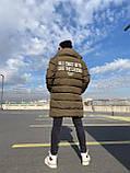 Мужская длинная зимняя куртка D10202 хаки, фото 3