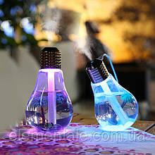 Ультразвуковий зволожувач повітря Лампочка Bulb humidifier 400 мл з роботою від Usb, Нічник 7 кольорів