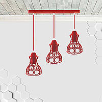 Подвесная люстра на 3-лампы RINGS-3 E27 красный