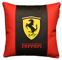 Автомобильная подушка с вышивкой логотипа машины Ferrary ферарри подарок шефу