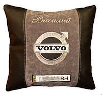 Автомобильная подушка с вышивкой логотипа машины Volvo подарок корпоративный
