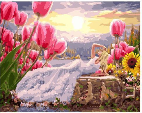 Картина рисование по номерам Brushme Дюймовочка в белом 40х50см рисование роспись по номерам, кисти, краски,