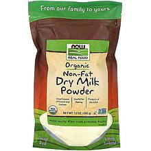 "Органічне знежирене сухе молоко NOW Foods, Real Food ""Certified Organic Non-Fat Dry Milk Powder"" (340г)"