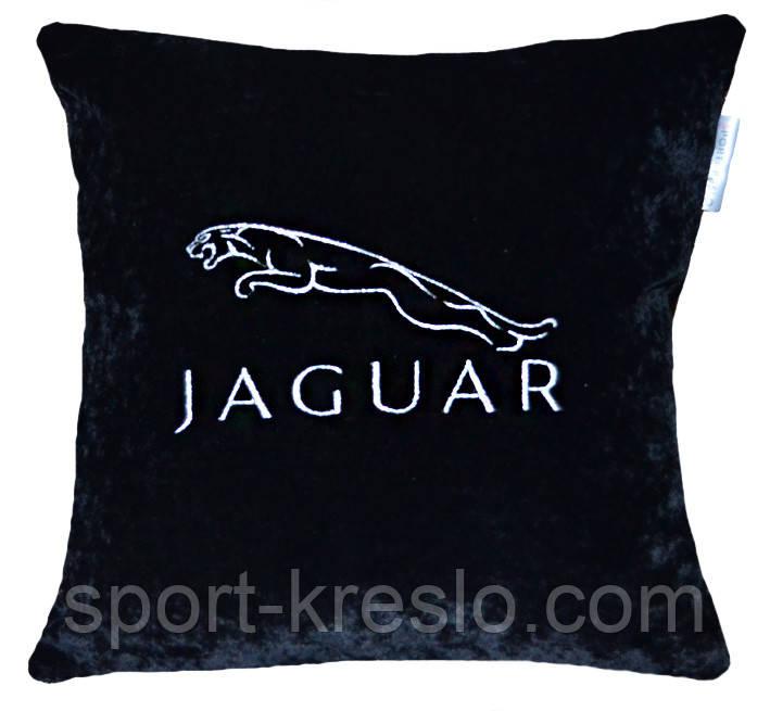 Автомобильная подушка с вышивкой логотипа машины Jaguar ягуар подарок шефу