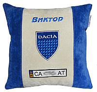 Подушка сувенир с вышивкой логотипа машины Dacia Дача подарок сотруднику, фото 1
