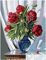 Картина рисование по номерам Brushme Букет бордовых пионов 40х50см рисование роспись по номерам, кисти,