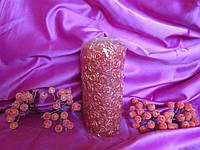 Роза, h-15см, d-6,5см, свеча парафиновая