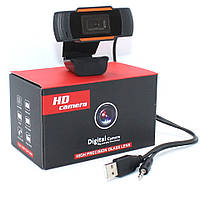 Веб-камера с микрофоном для компьютера WC12 HD USB Webcam Проводная вебка с универсальным креплением, фото 1