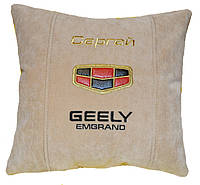 Авто подушка с вышивкой логотипа машины Geely джилли емгранд подарок сувенир