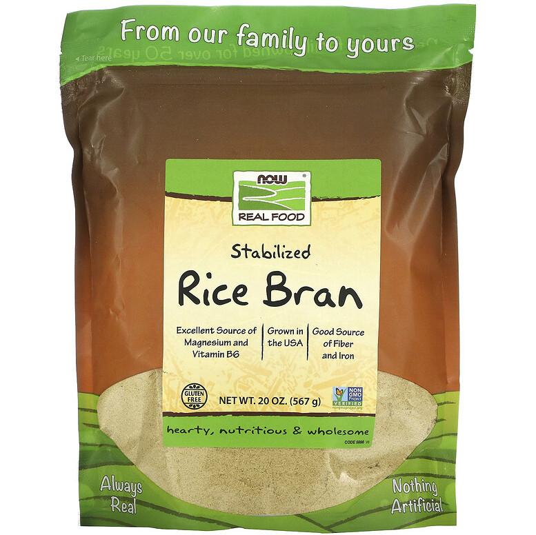 """Стабилизированные рисовые отруби NOW Foods, Real Food """"Stabilized Rice Bran"""" (567 г)"""