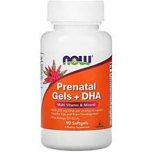"""Пренатальный гель с ДГК NOW Foods """"Prenatal Gels + DHA"""" для беременных и родивших женщин (90 гелевых капсул)"""