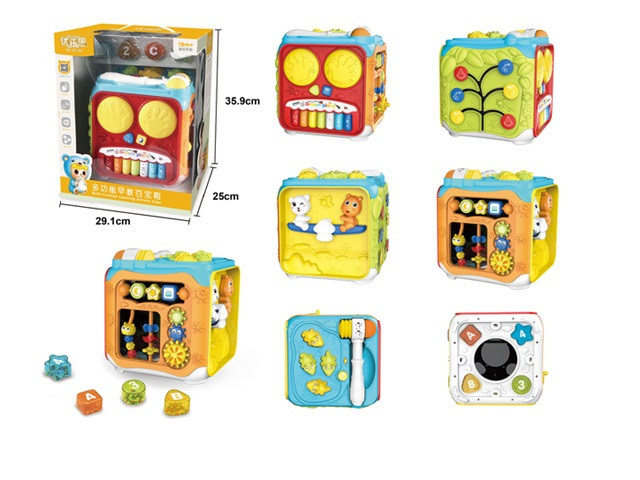 Игровой бизикуб, каждая панель активна, батарейки, свет, музыка, в коробке 63601