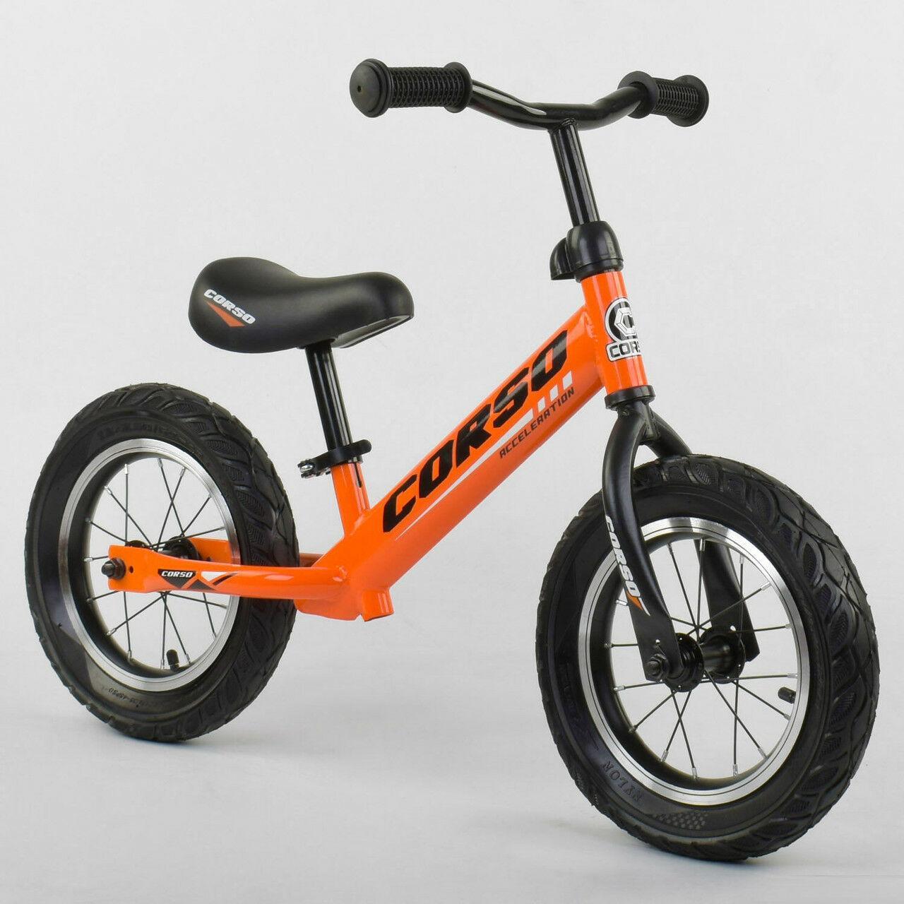 """Велобег Corso 68170 со стальной рамой, колеса 12"""", надувные колеса, оранжевый"""