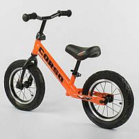 """Велобег Corso 68170 со стальной рамой, колеса 12"""", надувные колеса, оранжевый, фото 2"""