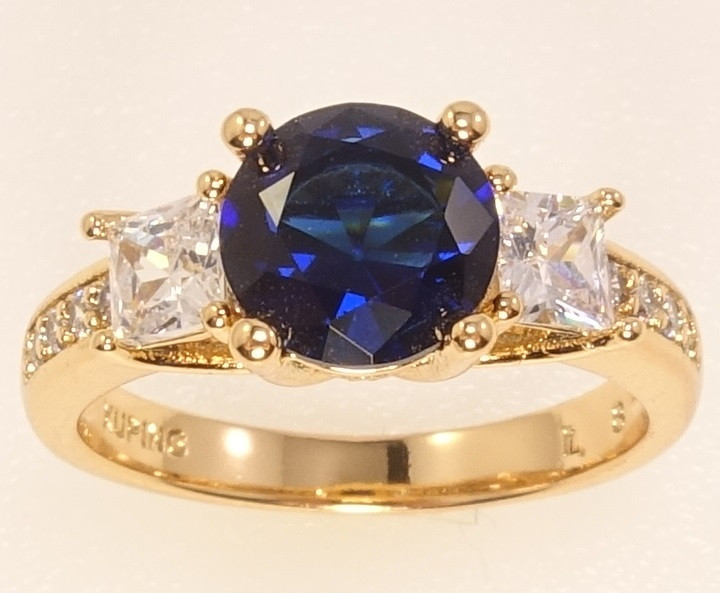 "Кольцо ХР Позолота 18K ""Синий кристалл с фианитами"" р.16.5,17,18,18.5,19.5"
