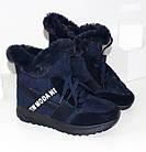 Женские зимние теплые кроссовки синего цвета, фото 5