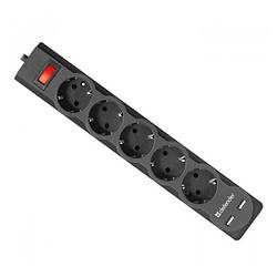Мережевий фільтр 220v (1,8 м) Defender DFS 751 (5 розеток, 2xUSB 2.1 A) Black