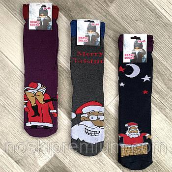 Носки женские махровые х/б без резинки с отворотом Новый год Bravo Socks, Турция, ассорти, 02481