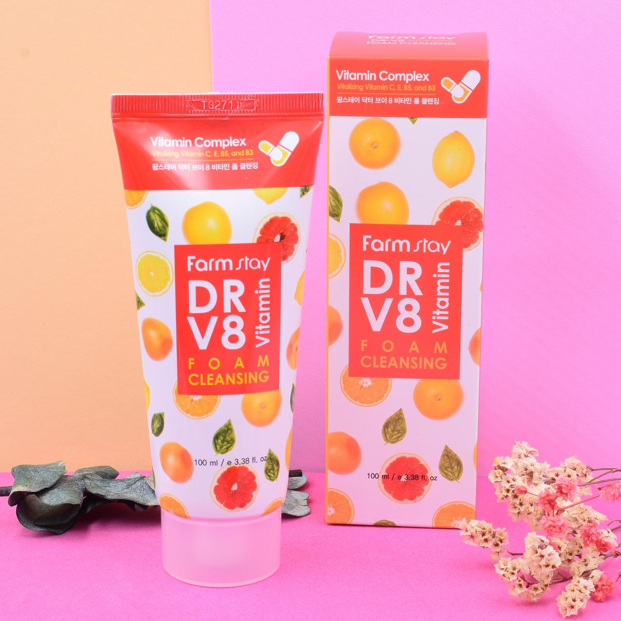 Витаминная очищающая пенка FARM STAY DR V8 Vitamin Foam Cleansing