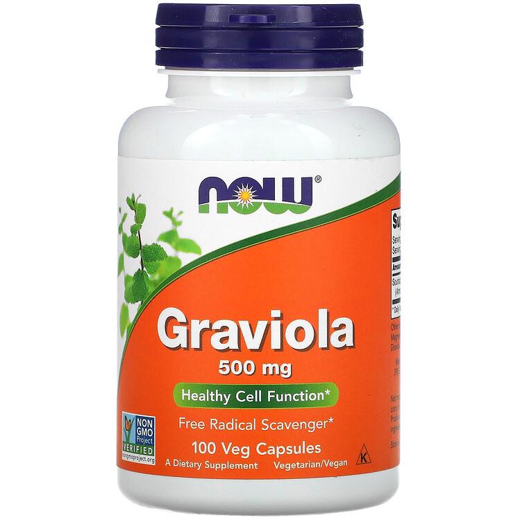 """Гравиола NOW Foods """"Graviola"""" здоровая работа клеток, 500 мг (100 капсул)"""
