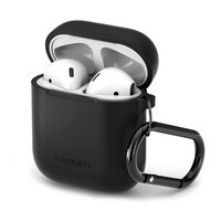 Силиконовый чехол с карабином Spigen Silicone Case Black для Apple AirPods