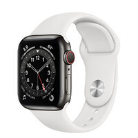 Смарт-часы Apple Watch Series 6 GPS + Cellular, 40mm Graphite Stainless Steel Case with White Sport Band